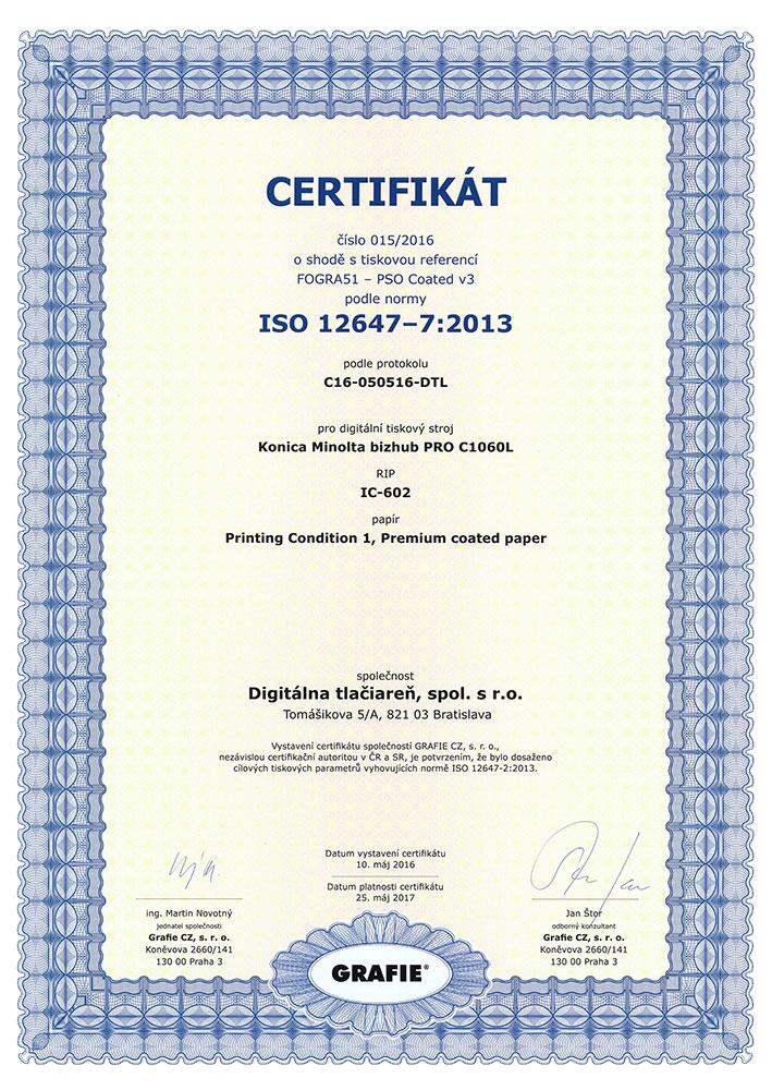 certifikát o farebnej zhode FORGRA39