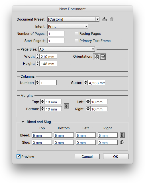 Adobe InDesign, nový dokument, A5=210x148mm, Margins=10mm, Bleed=5mm